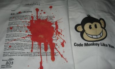 Your Brains and Code Monkey tshirts