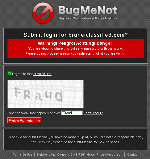 BugMeNot fraud CAPTCHA