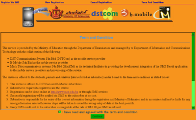 screenshot of SMS registration site
