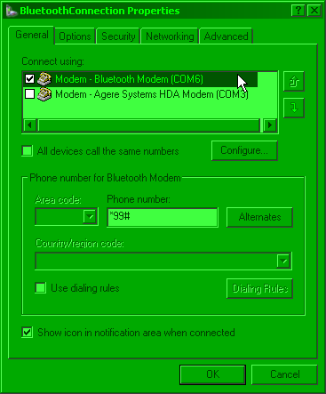 Connection properties screenshot - selecting right modem