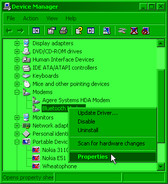 Device manager right click Bluetooth modem screenshot