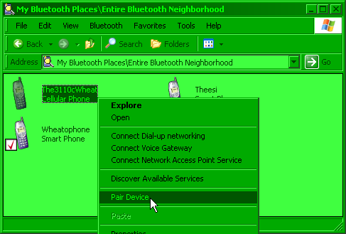 Right click Phone > Pair Device screenshot