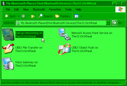 Dial-up networking under My Bluetooth Places screenshot