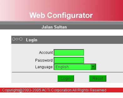 Web cam web configuration page