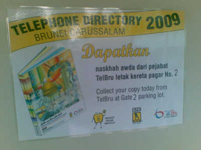 Notice to collect Telephone Directory 2009