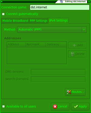 Edit connection - IPv4 Settings Tab