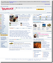 Yahoo! homepage screenshot