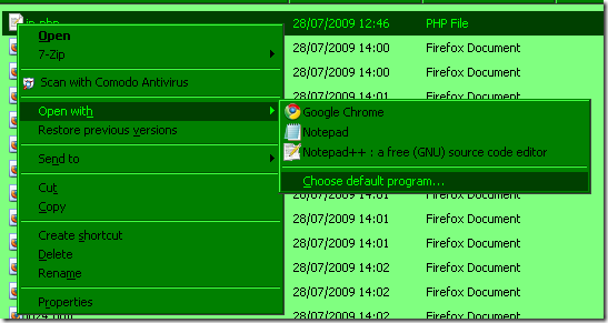 Screenshot: Right click file > Open With > Choose default program...