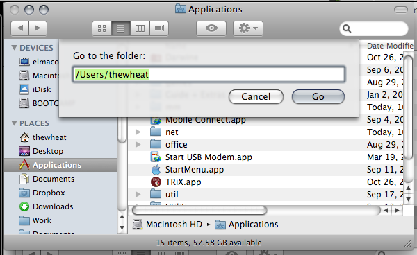 finder go to folder