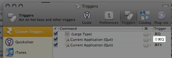 Trigger pane showing Command Shift Q