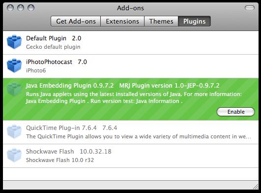 Firefox addons - Plugins tab