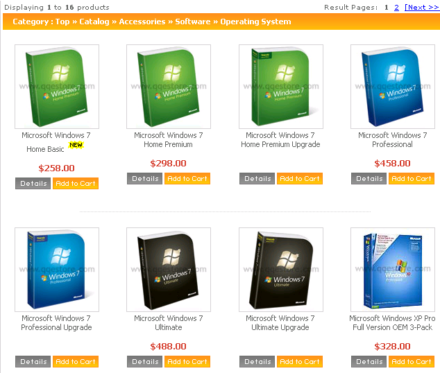 Windows 7 prices from QQeStore