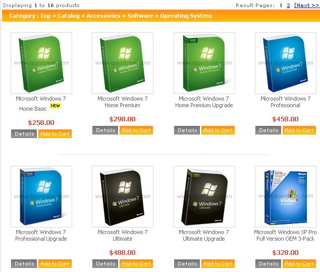 Windows 7 prices from QQeStore