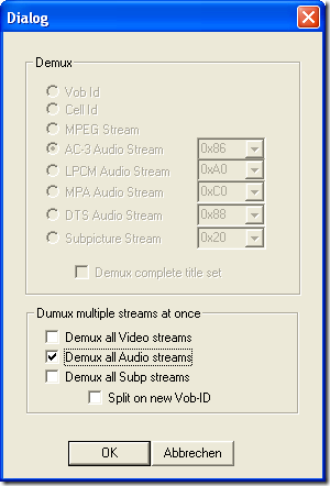 VobEdit screenshot - extract all audio streams