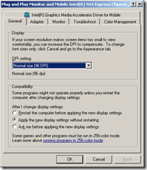 General Tab of Graphics Card Advanced Dialog Box