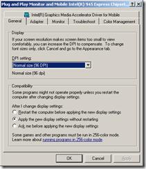 General Tab of Graphics Card Advanced Dialog Box
