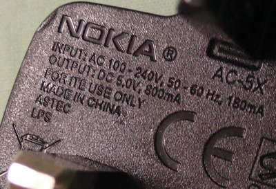 nokia charger ratings