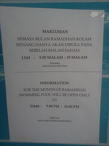 Opening Hours During Ramdhan/Puasa 9pm-10pm