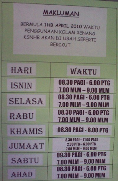 Brunei National Stadium Swimming Pool Opening Hours