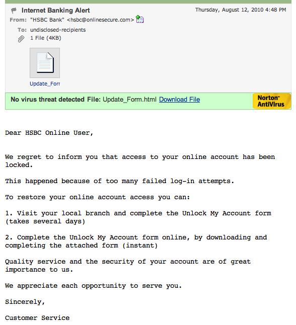 HSBC Phishing Email