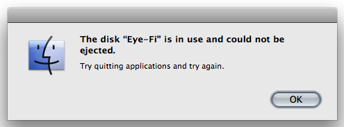 eye fi is in used dialog box when unmounting