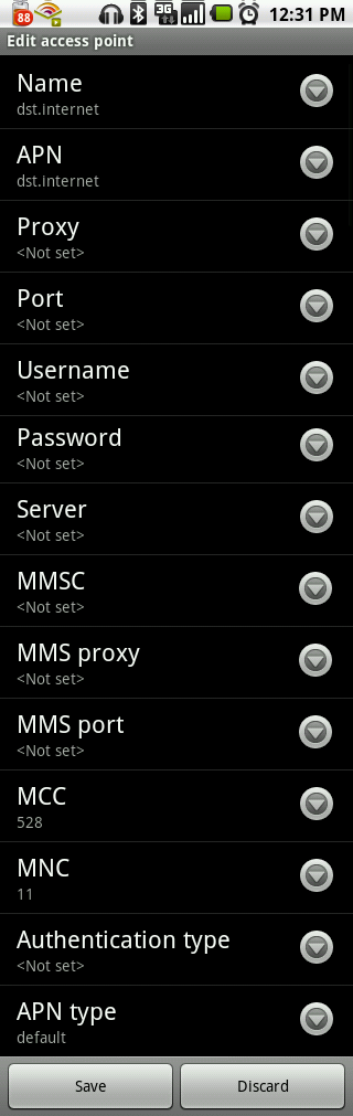 DST Internet Settings