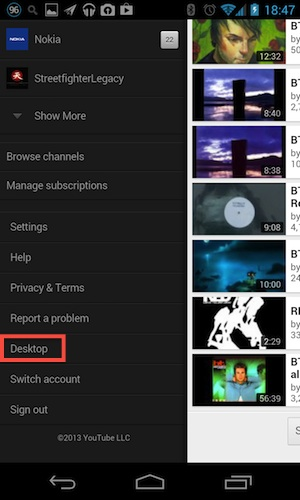 YouTube - Sidebar Desktop Link