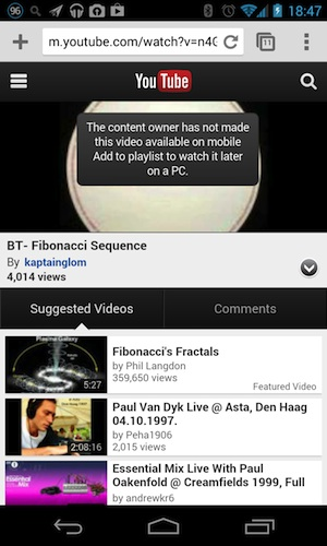 """Youtube Mobile Website Gets A Boost: Bypassing """"The Content Owner Has Not Made This Video"""