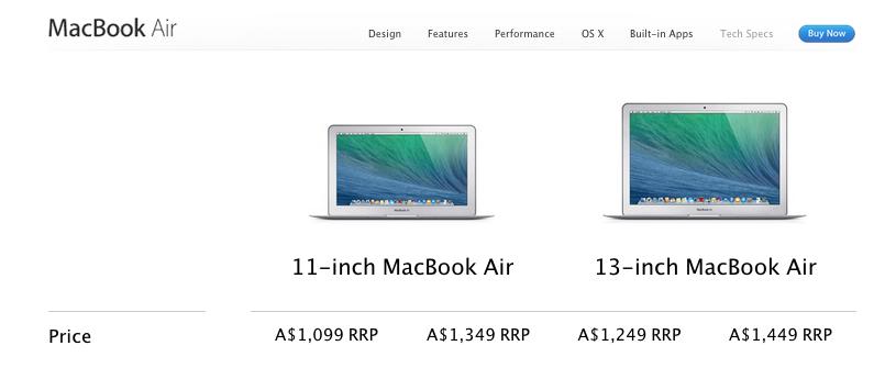 Apple - Airs specs