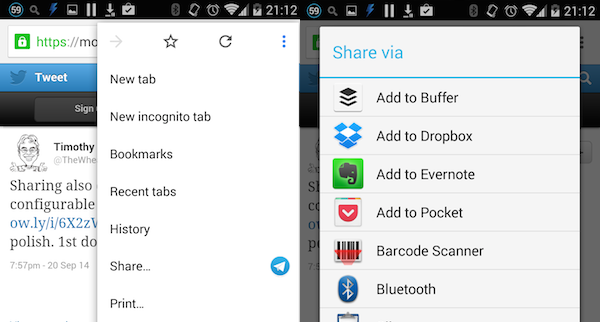 Android sharing Chrome