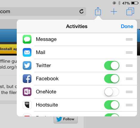 iOS 8 advanced sharing ordering
